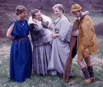 Examples of clothes from the time of the Tollund Man - iron age bog bodies and their clothes (before the vikings, but what a great pic!)