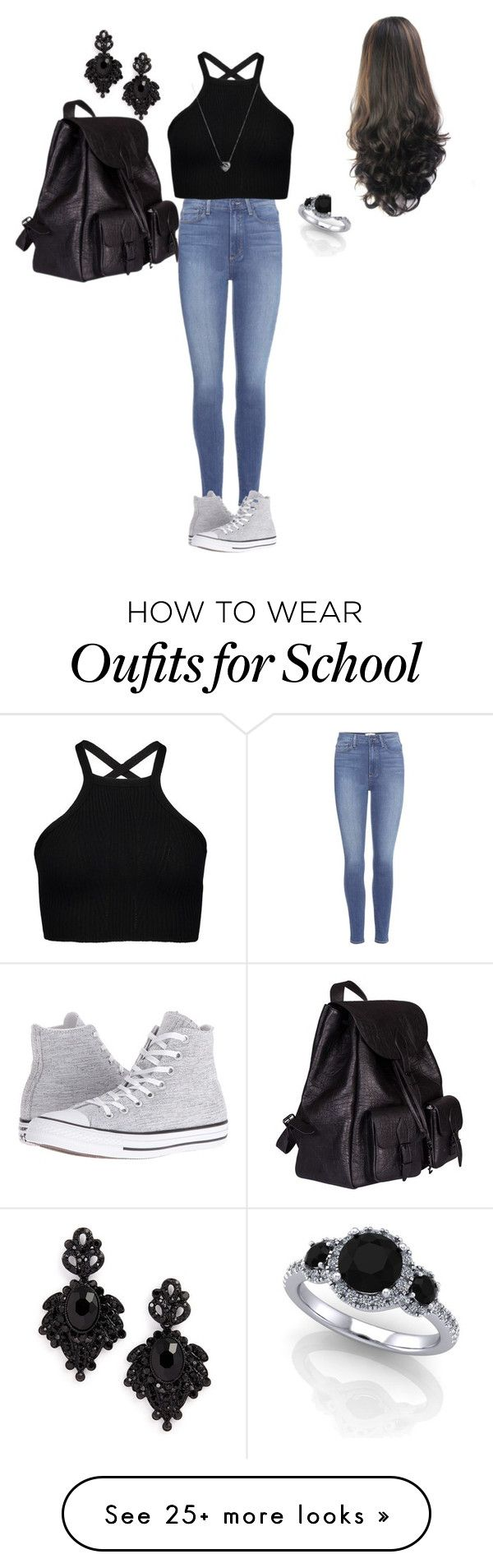 """""""to cool for school"""" by shelby-burkett on Polyvore featuring Paige Denim, Converse, Links of London, Tasha and Yves Saint Laurent"""