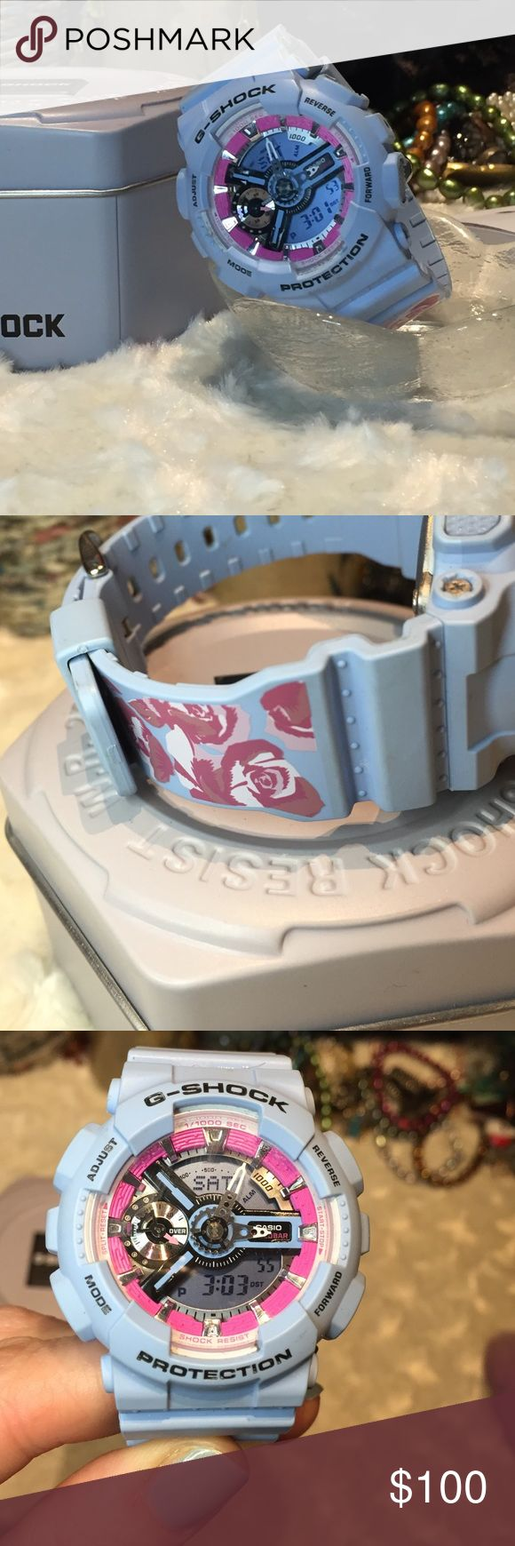 Casio G-Shock Ladies Watch EUC Lovely periwinkle color with floral design. No fading on pattern. Very minimal signs of wear. In perfect condition. Please have feedback for this item. I won't ship to someone with no buying or selling history. I love this watch, but I have an Apple Watch and I can't wear two watches. I'll consider offers, but I don't respond to lowball offers. No trades. I video outgoing orders for our protection! Casio Accessories Watches