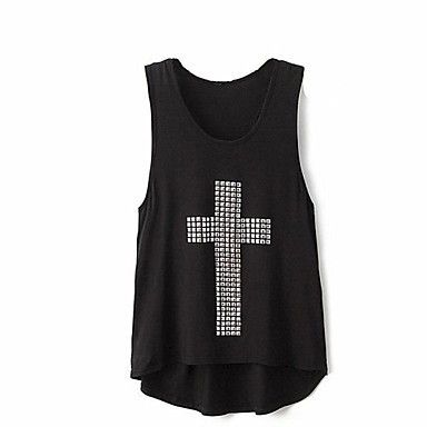 Rhinestone Cross Sexy Womens Summer Tank Top Black