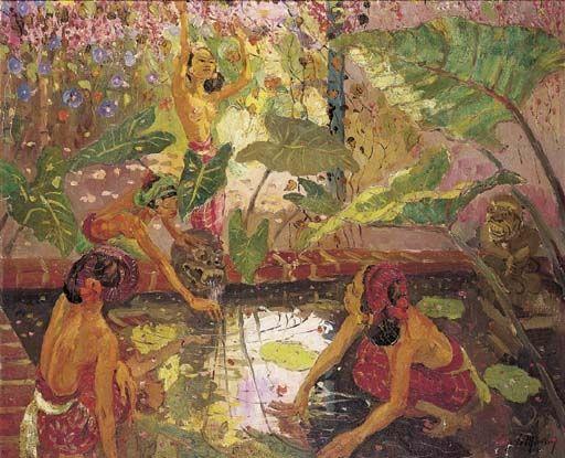 Adrien Jean Le Mayeur de Merprés - By the lotus pond