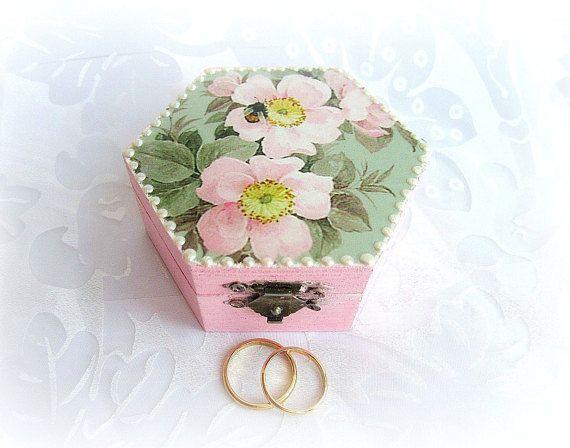 Ring bearer box dog rose flower ring box ring box wood