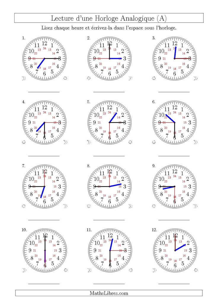 La fiche d'exercices de maths « Lecture de l'Heure sur Une Horloge Analogique avec 15 Minutes  & Secondes d'Intervalle (12 Horloges) (A) » de la page des Fiches d'Exercices sur la Mesure de Temps.