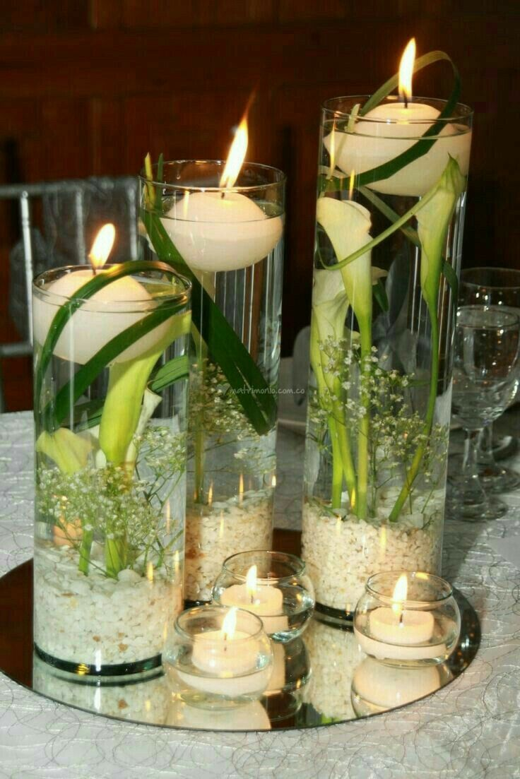 343 best floating candles images on pinterest - Decoracion unas para boda ...