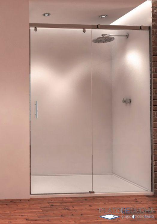Mampara de ducha Miriel. Frontal con una hoja fija y una hoja corredera con Perfil en Aluminio Anodizado en Cromo Alto Brillo