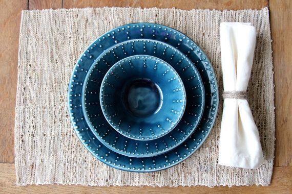 Dinnerware Set - Dinner Plate, Salad Plate, Soup Bowl - Deep Sea Blue - One Place Setting - Modern Handmade Dinnerware - Made to Order