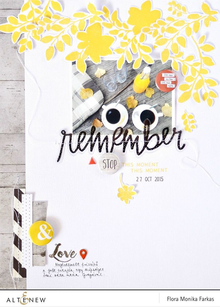 "8.5""x11"" scrapbook layout with Altenew Floral Shades stamp set   by Flóra Mónika Farkas #altenew #stamping"