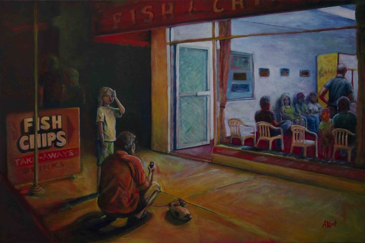 Andy Kent Fremantle Artist One Fish and Chips, One Fishermans Basket, acrylic on canvas, 90cm x 60cm, $750
