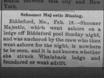 The Daily News (Mount Carmel, Pa) 18 Feb 1896 The Schooner Majestic missing off of Biddeford Pool, ME
