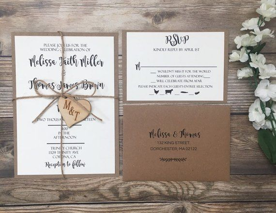 Wedding Invitation Rustic Wedding Invitation Wooden Heart Etsy Kraft Wedding Invitations Heart Wedding Invitations Wedding Invitations Rustic