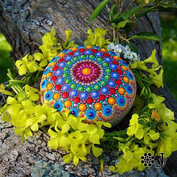 Mandala Painted Stone Extra Large Rock Decor Natural Sea