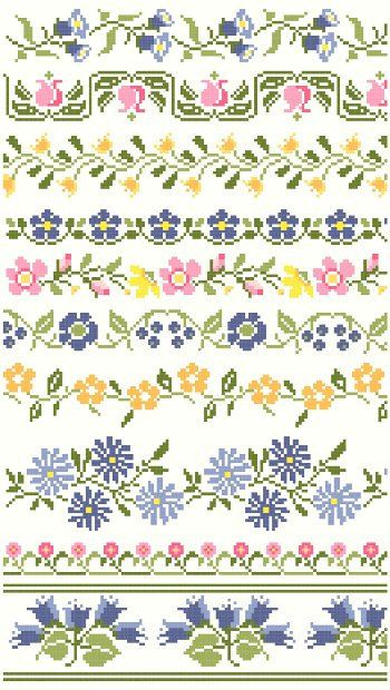 Ten decorative borders inspired by vintage textiles feature a variety of flowers in blues, pinks, and yellows. Great for edging linens and