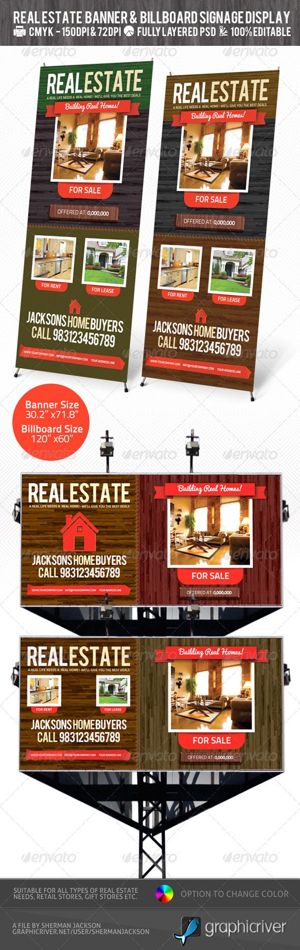 Real Estate Outdoor Banner & Billboard Signage PSD — Photoshop PSD #banner ads #houses • Available here → https://graphicriver.net/item/real-estate-outdoor-banner-billboard-signage-psd/2433054?ref=pxcr