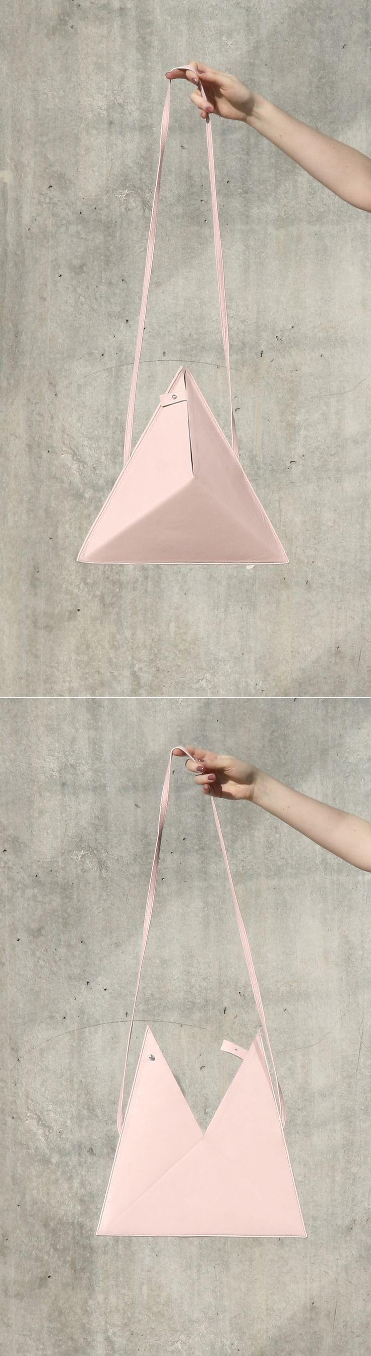 Triangle Bag by IF irinaflorea | minimalist | leather | rose quartz | https://www.facebook.com/irinafloreadesign/
