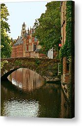 Arched Bridge Over One Of Bruges Canals Photograph by Jeff Rose - Arched Bridge Over One Of Bruges Canals Fine Art Prints and Posters for Sale