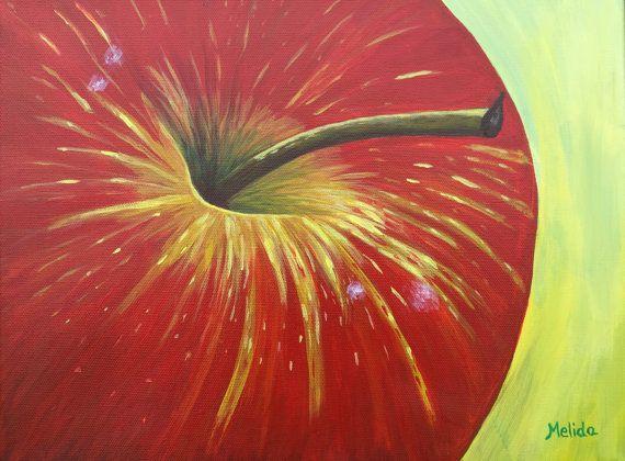 Delicious Apple Painting Original Apple Art Fruit by MelidasArt
