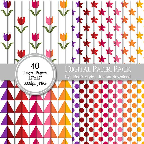 SALE 40 Digital Paper Pack Flower design dot triangle by rueastyle