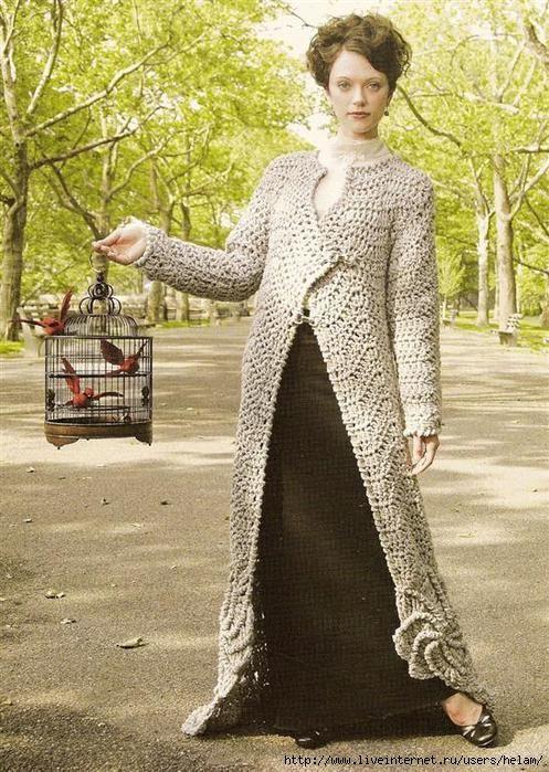 Crochet golden coat. Crochet foreign patterns Pinterest