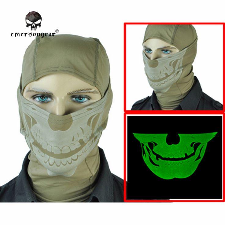check price emerson glowing skull face mask cosplay balaclava paintball outdoor cs hood wargame airsoft #skull #balaclava