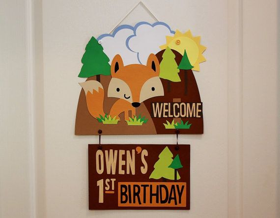 Woodland Birthday Party Welcome Sign  Fox Forest by PaperMeUp