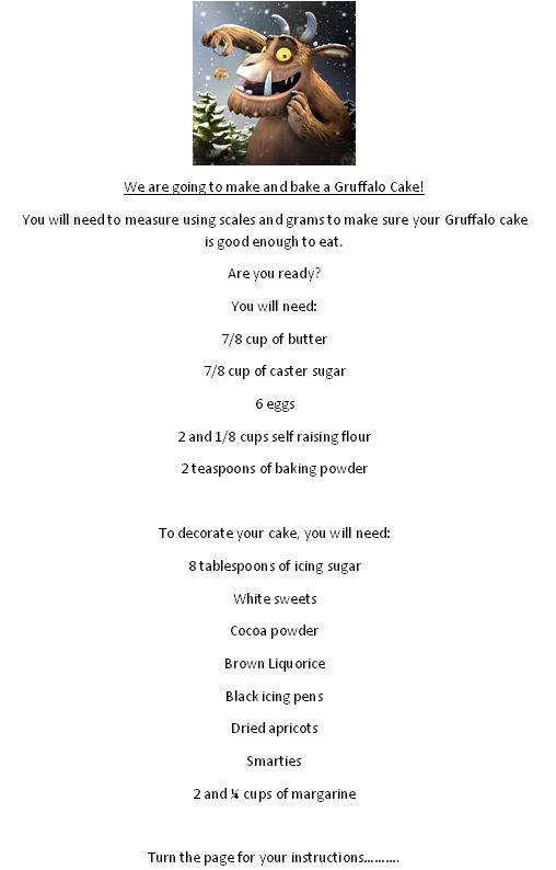 how to make a cake instructions ks1