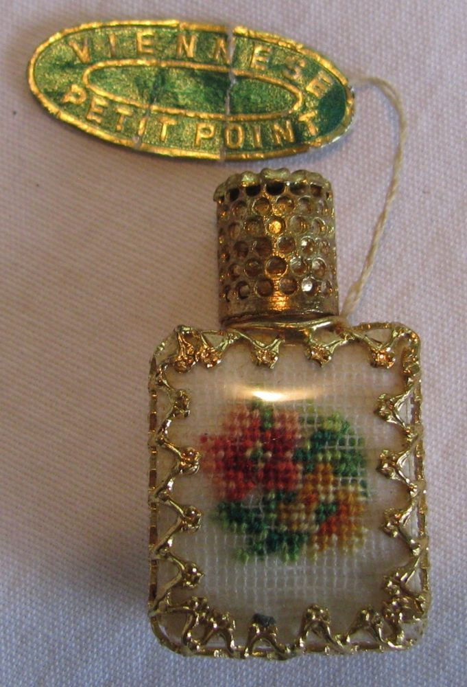 vintage miniature viennese petit point perfume with tag u0026 glass dauber