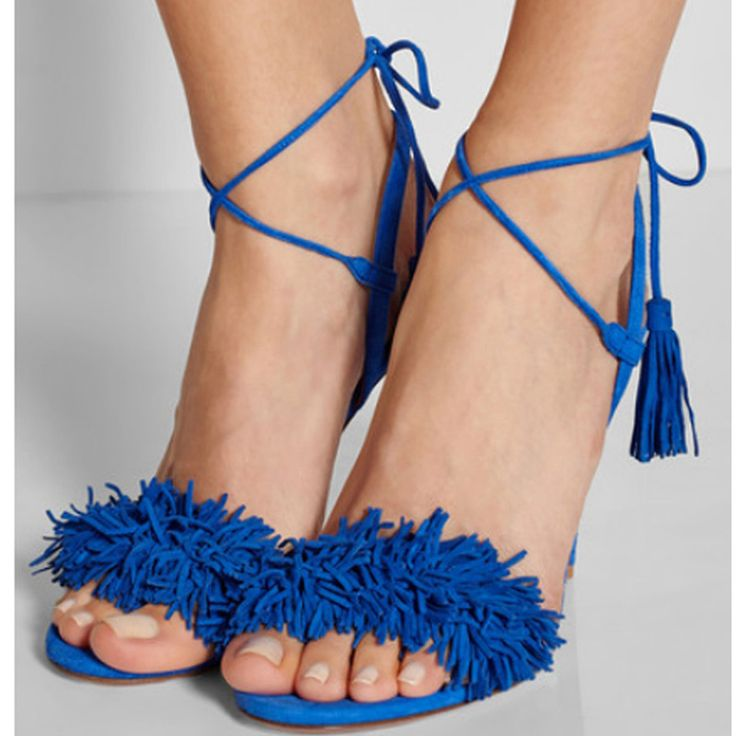Pop stars same design latest 2016 sexy Tassel women sandals high heels Lady Casual Lace-Up dress party shoes for women and girl