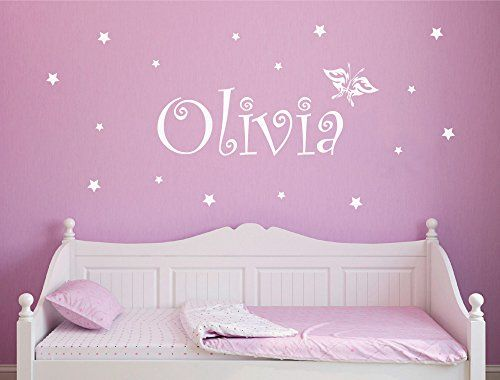 Personalised girls name wall sticker with butterfly and s https