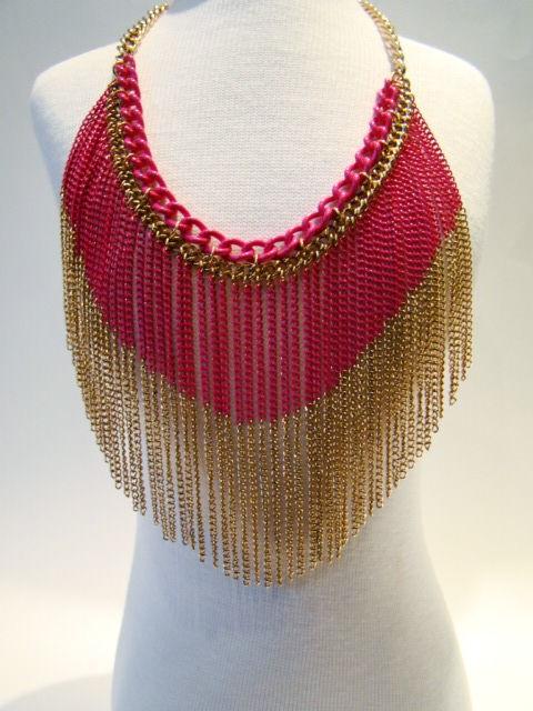 Maxi Colar Franjas Pink & Gold