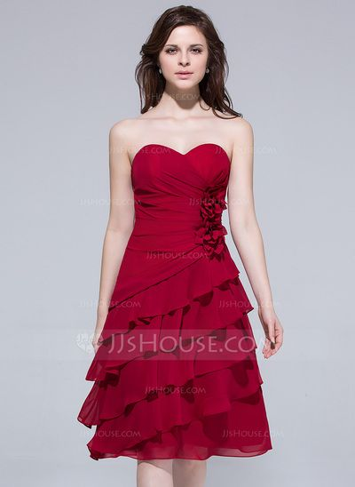 Bridesmaid Dresses - $106.99 - A-Line/Princess Sweetheart Knee-Length Chiffon Bridesmaid Dress With Flower(s) Cascading Ruffles (007037263) http://jjshouse.com/A-Line-Princess-Sweetheart-Knee-Length-Chiffon-Bridesmaid-Dress-With-Flower-S-Cascading-Ruffles-007037263-g37263