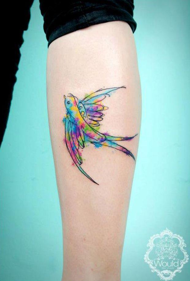 Watercolor bird. So pretty