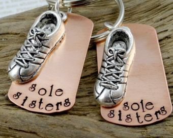 Pair of 2 Two Sole Sisters Running Key Chains or Necklaces - Hand Stamped Runner Jewelry -  Woman Accessory - Key Rings Necklace