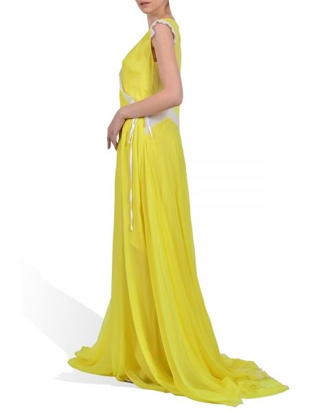 Parlor wrap yellow silk-chiffon dress, geometric details back: white polka dots. Silk lining. Fabrics: 100% silk.