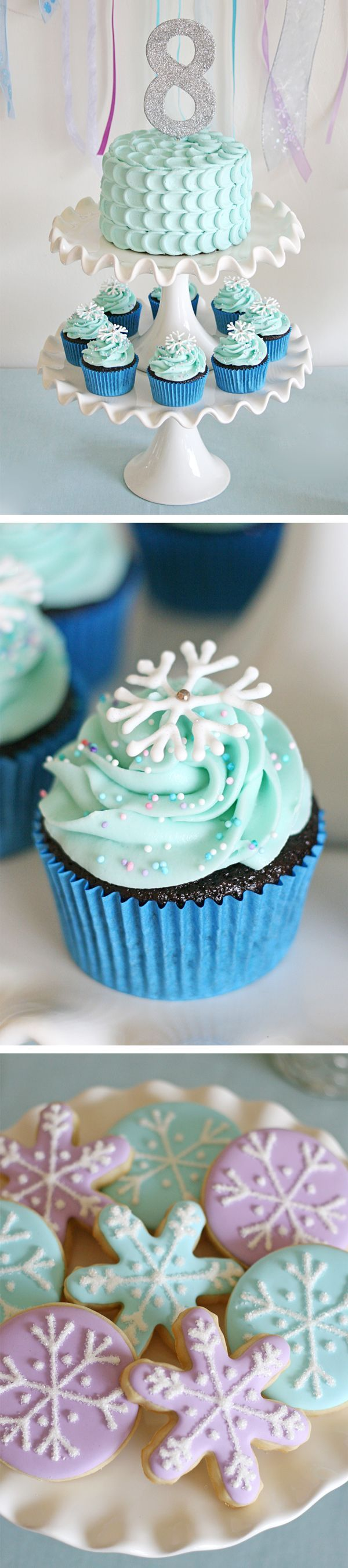 Beautiful ideas for a Frozen themed birthday!  Perfect for any winter party!