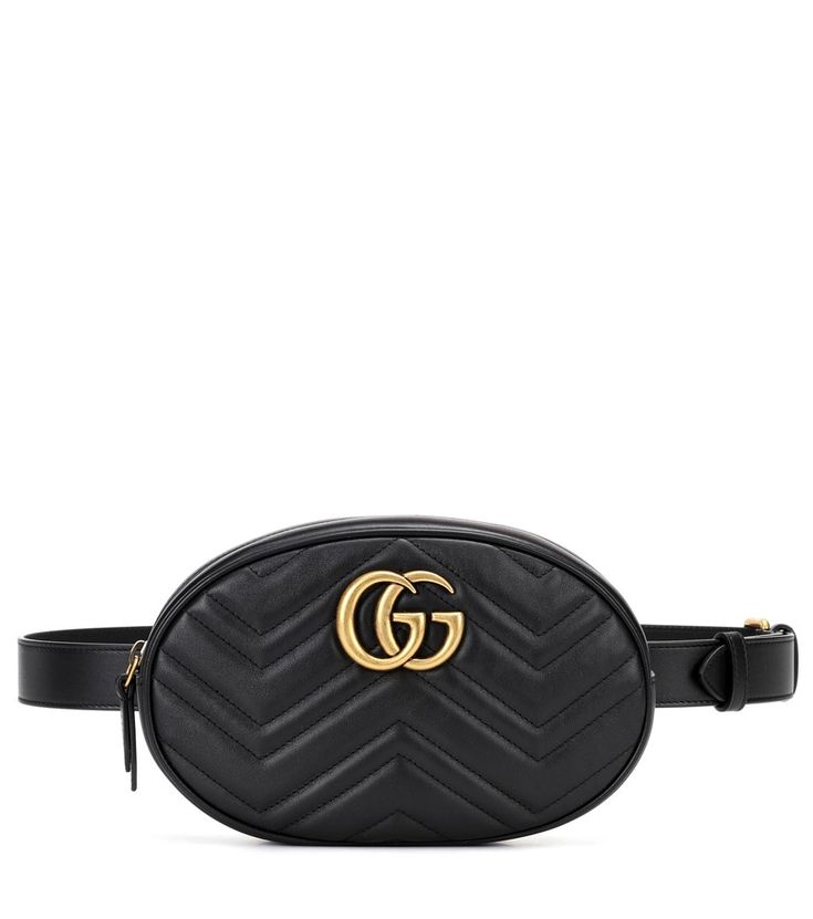 Gucci - GG Marmont leather belt bag - Bring Gucci's cool-girl flavour to your accessories edit with the latest iteration of the Marmont belt bag, classic in black with gold hardware. Crafted in Italy from matelassé leather, this compact style is adorned with the label's iconic GG logo and comes with a plush faux-suede lining. seen @ www.mytheresa.com