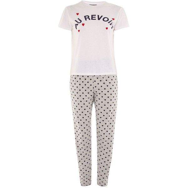 Topshop 'Au Revoir' Heart Embroidered Pyjamas (125 BRL) ❤ liked on Polyvore featuring intimates, sleepwear, pajamas, grey, heart pajamas, topshop pyjamas, topshop sleepwear and topshop pjs