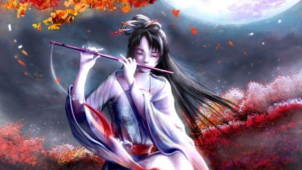 Wallpaper girl, pipe, music, wind, leaves