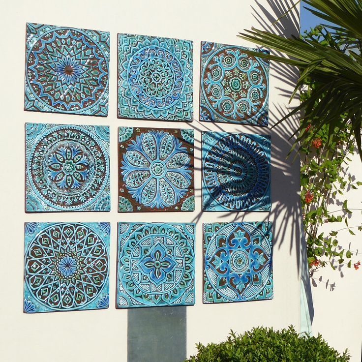Garden Decor   Outdoor Wall Art Made From Ceramic   Set Of 9 (Moroccan,