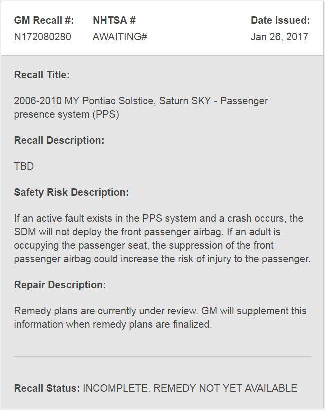 GM to issue a recall for Pontiac Solstice - Defective passenger presence system #Pontiac #GTO #TransAm #cars #musclecar #Firebird #HotRides