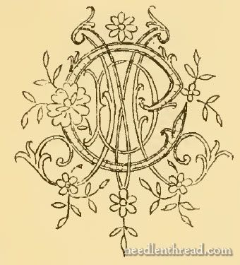 Link to an internet archive monogram/embroidery catalogue (via needlenthread.com). Some alphabets (not all complete), individual letter enlargements and examples of embellishments