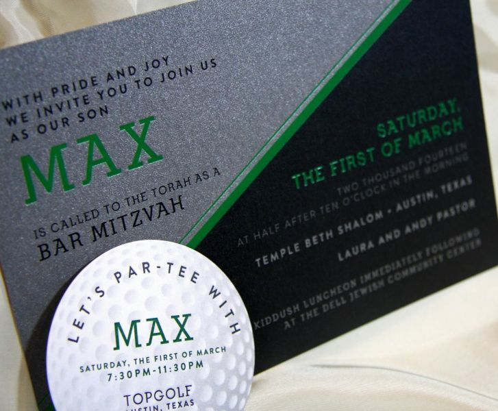 take a look at max s fun and sporty golf themed foil bar mitzvah