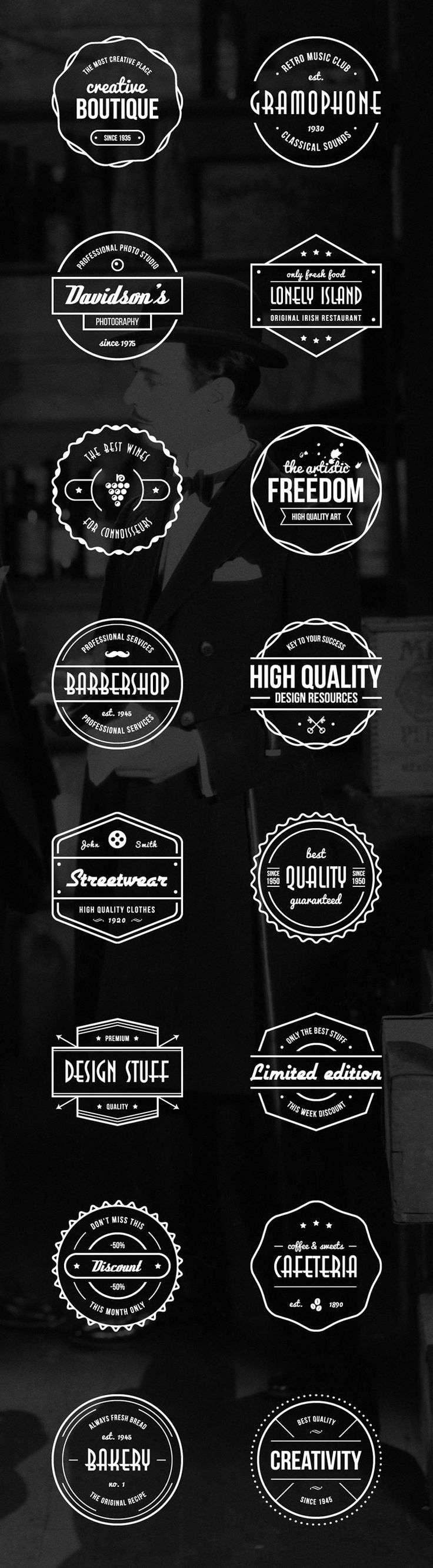 The design stuff but honeycomb Freebie: Vector Vintage Badges (AI & EPS) (40 MB) | speckyboy.com