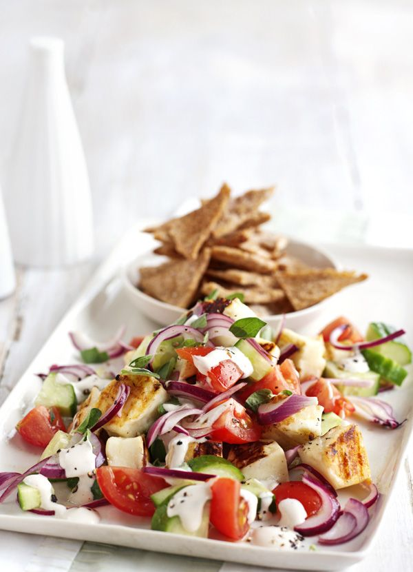 Halloumi salad with houmous dressing and pitta crisps - all the things you probably have in your fridge, so easy-peasy.