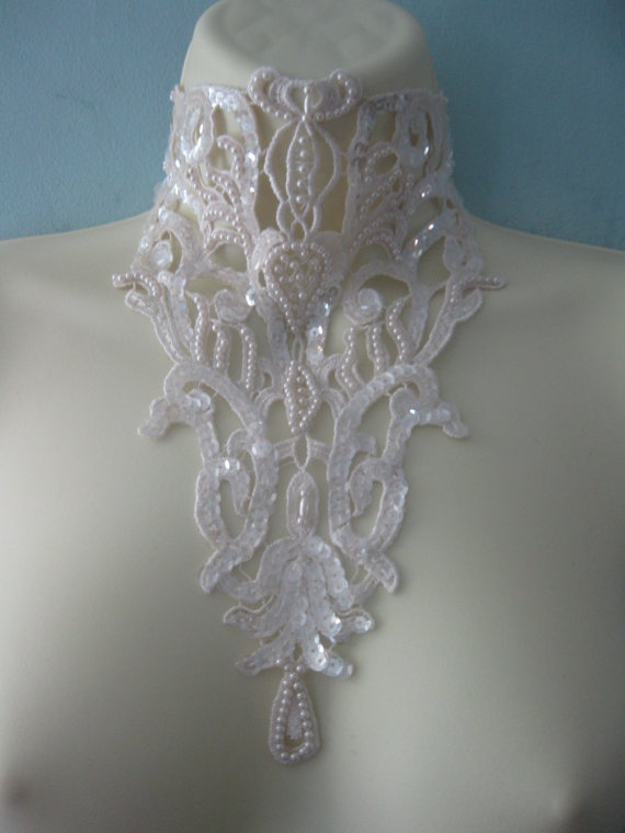 Steampunk jewelry Victorian inspired gothic ivory white choker detachable collar necklace