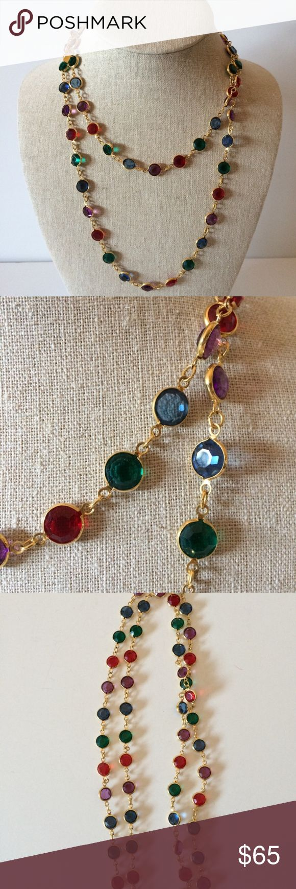 """Swarovski Multi Color Crystal Necklace - Authentic design features a single strand of bezel set faceted crystals. Easy to wear, no clasp versatile look - wear long or doubled up as pictured. - Multi color. Red, Green, Blue, Purple. Gold tone chain. Hallmarked with Swarovski swan logo tag. - Measures approx. 36"""" long. Total weight 30 grams. - Pre-owned Very Good - instantly dresses up any outfit - so lovely! Swarovski Jewelry Necklaces"""