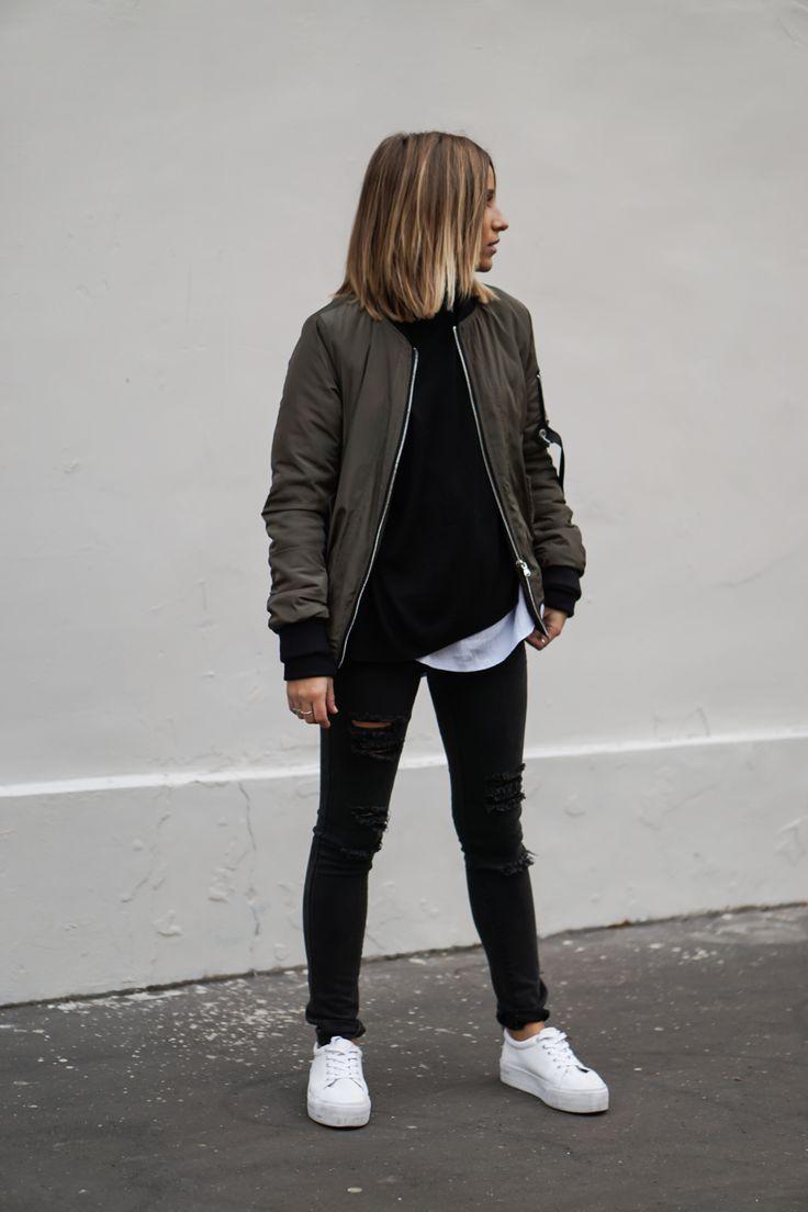 Khaki Bomber Jacket / Asos Sneakers http://FashionCognoscente.blogspot.com