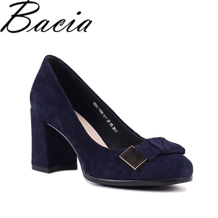 Find More Women's Pumps Information about Bacia Sheep suede Pumps Blue 7.5cm Thich & High Heels  Genuine Leather Ladies Shoes Round Toe Bowtie Shoes Pump Size 35 41 SB026,High Quality shoes pump,China ladies shoes Suppliers, Cheap bowtie shoes from Bacia on Aliexpress.com