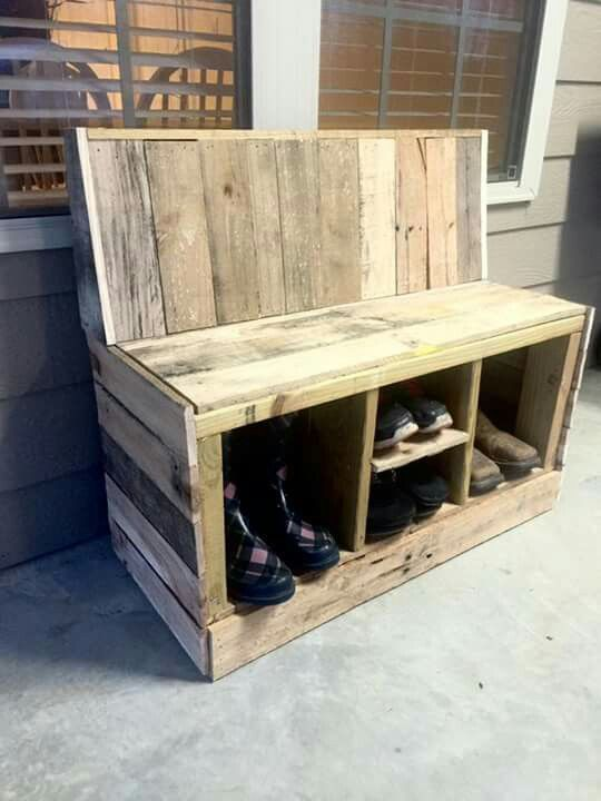 Outdoor Bench With Shoe Storage Underneath Bench Outdoor Shoe Storage In 2020 Bank Mit Schuhaufbewahrung Schuhaufbewarung Aufbewahrung Selbstgemacht