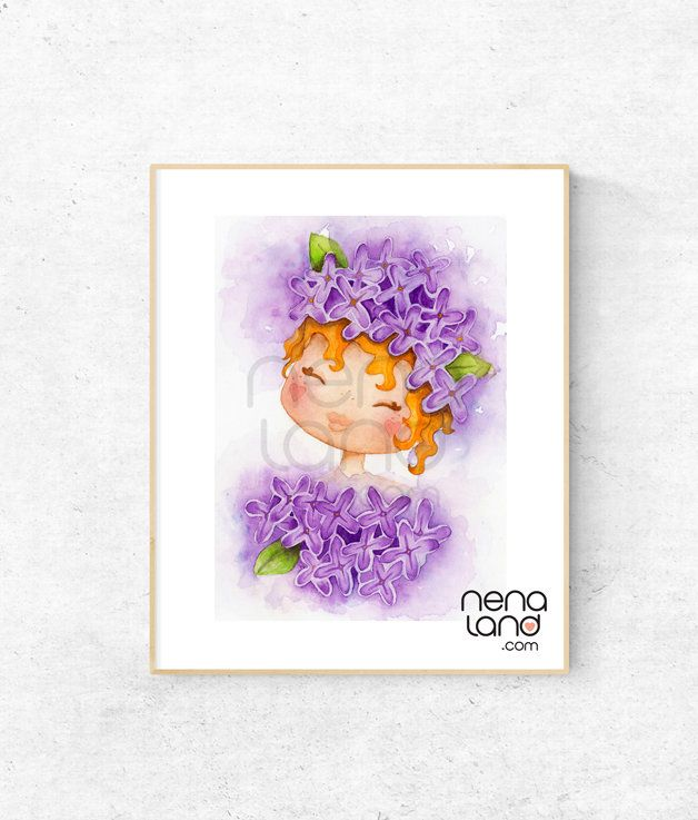 Art print Purplelicious, purple flower, red head girl, print made from original watercolour painting
