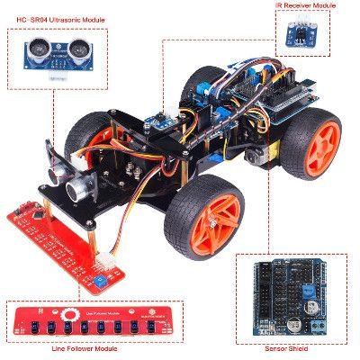 A description of SunFounder Remote Control Robot Smart Car Kit V2.0 for Arduino Uno R3 Ultrasonic Line Follower Sensor IR Receiver, a complete learning kit based on Arduino to experiment with robotics.